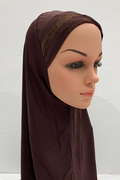 Kids Shimmer Hijab Large Expresso
