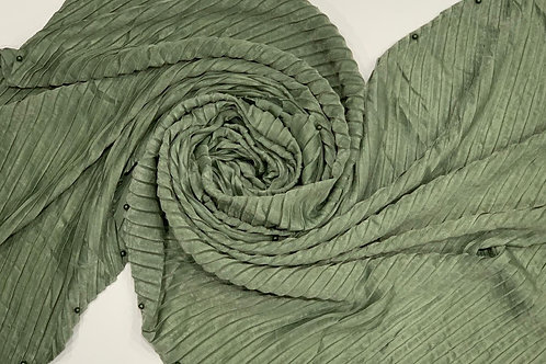 Suede Pleated and Pearl Hijab Green