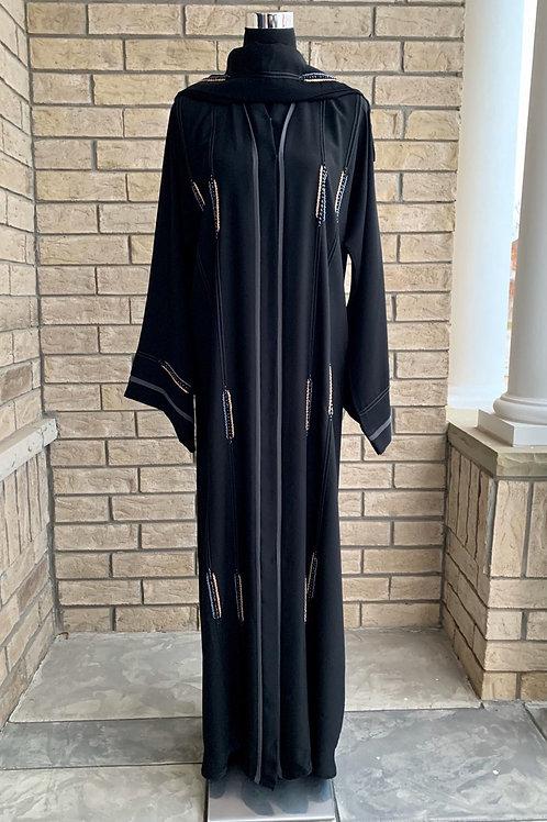 Premium Abaya with Gold and Blue Handwork