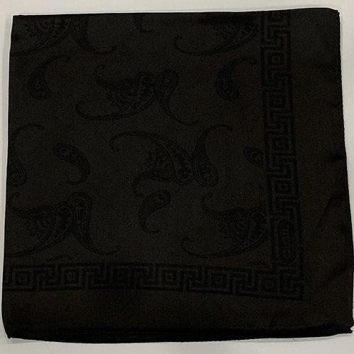 Paisley with Square Border Reversible Turkish Square Scarf Black on Black