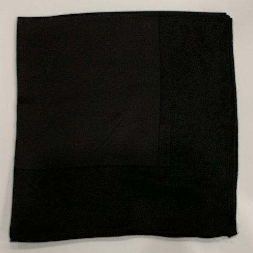 Paisley Border Reversible Turkish Square Scarf Black on Black