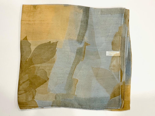 Abstract floral premium Turkish square scarf grey