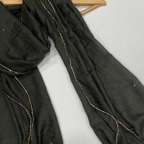 Gold Chain and Glitter Hijab Granite Grey