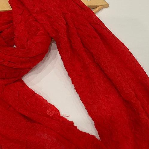 Wave Crinkle Hijab Red