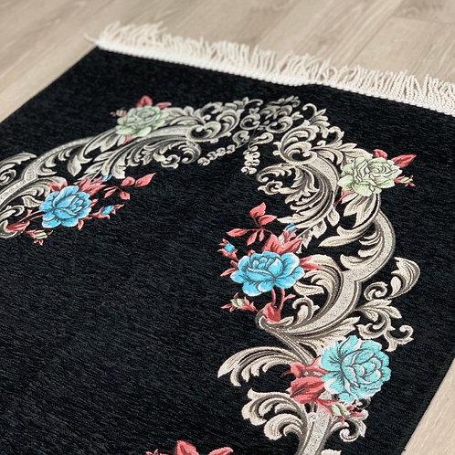 Black Floral Woven Velvet Janamaz