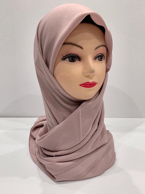 Premium Turkish Square Scarf with Shimmer Border Light Dusty Pink