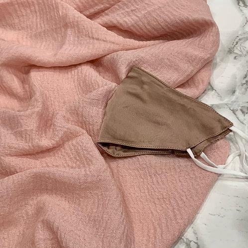 Pretty In Pink Hijab Friendly 100% Mulberry Silk Mask + Hijab Set