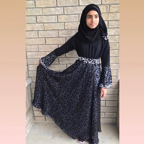 Kids Dress Style Abaya with Scrolls