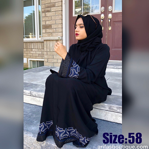 Abaya With Blue Accent Size 58