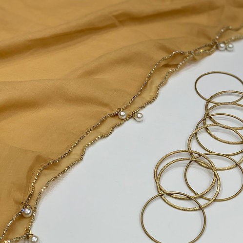 Elegant Hijab with Stonework and Pearls Yellow Gold