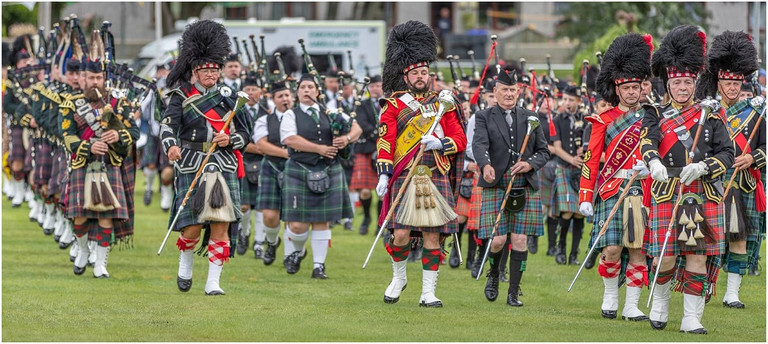 Massed Bands at the 2019 Ballater Highland Games