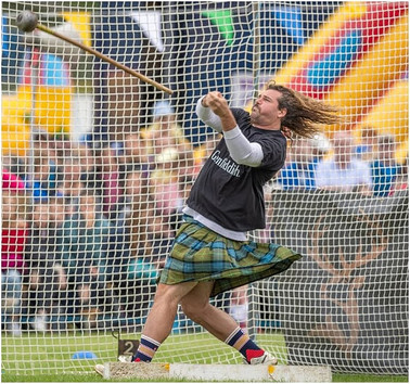 Hammer throw at the 2019 Ballater Highland Games