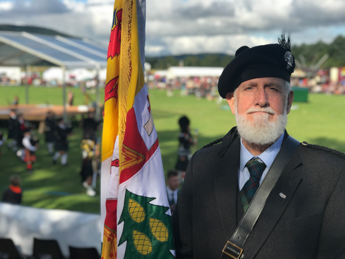 Jim Payne, Chief's Bannerman at the 2019 Ballater Highland Games