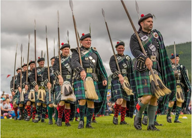 Lonach Highlanders at the 2019 Ballater Highland Games