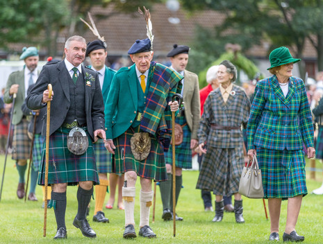 The Chief arrives at the 2019 Ballater Highland Games