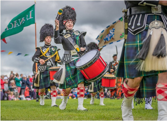 Pipes & Drums at the 2019 Ballater Highland Games