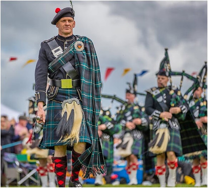 Pipes and Lonach Highlander at the 2019 Ballater Highland Games