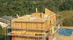 절단한 지붕 벽 설치