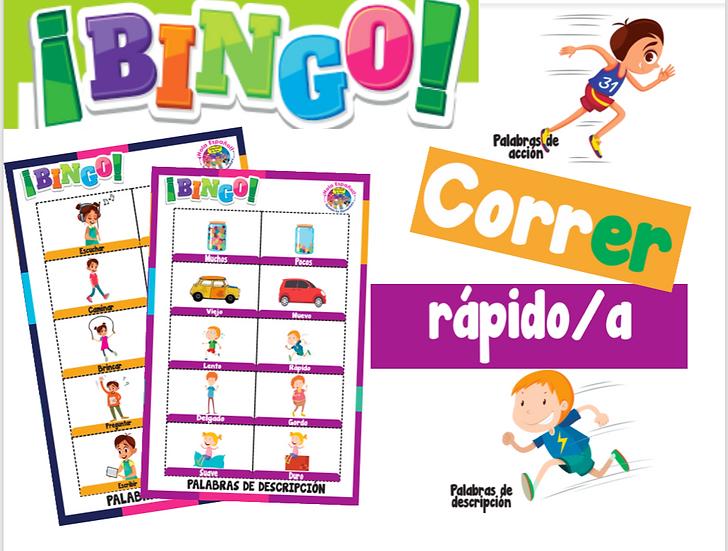 Action and Describing words Digital Bingo