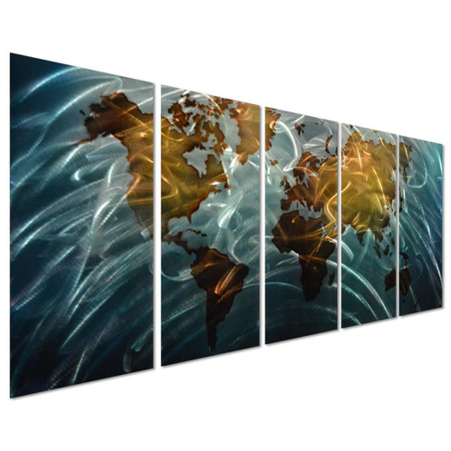 Wall Decor Set home - blue world map large metal wall art decor - set of 5 panels
