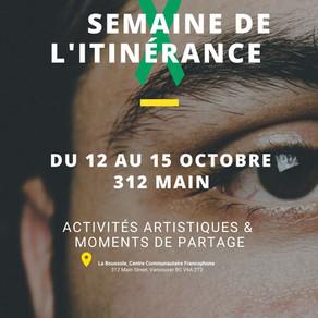 DU 12 au 15 octobre, soulignons La semaine de l'itinérance