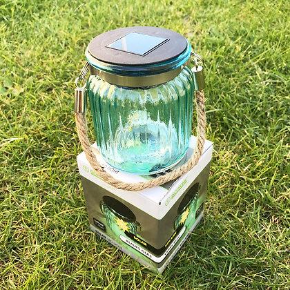 Isotronic Стъклена соларна LED лампа Син Фенер