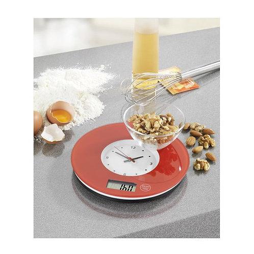 Електронна кухненска везна с часовник (червено)