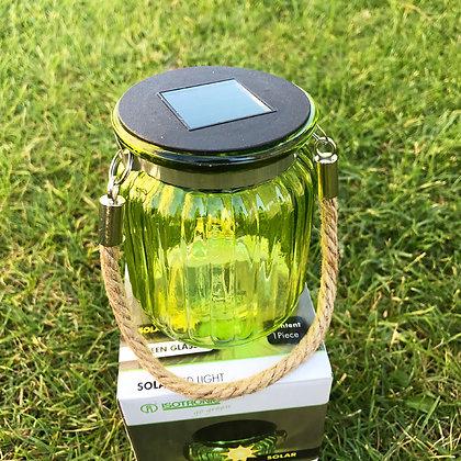 Isotronic Стъклена соларна LED лампа Зелен Фенер
