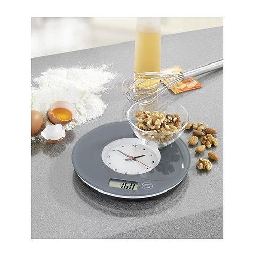 Електронна кухненска везна с часовник (сиво)