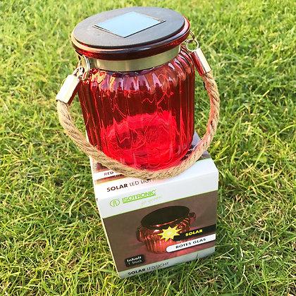Isotronic Стъклена соларна LED лампа Червен Фенер