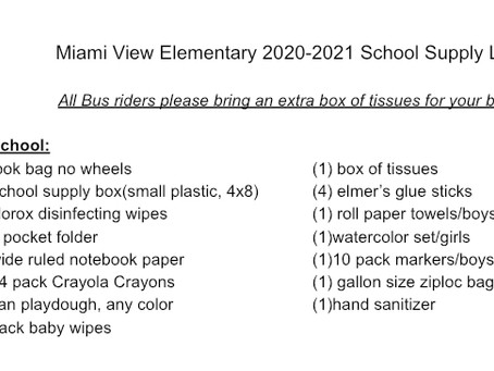 Miami View Supply Lists for 2020-2021 School Year