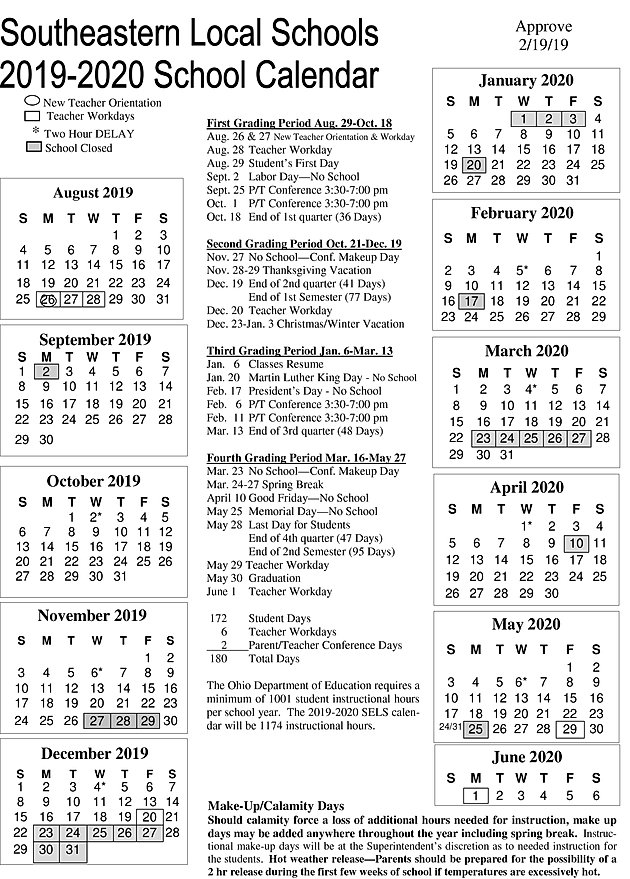 Calendar Sept 2020.2019 2020 Board Approved District Calendar Southeastern Local High