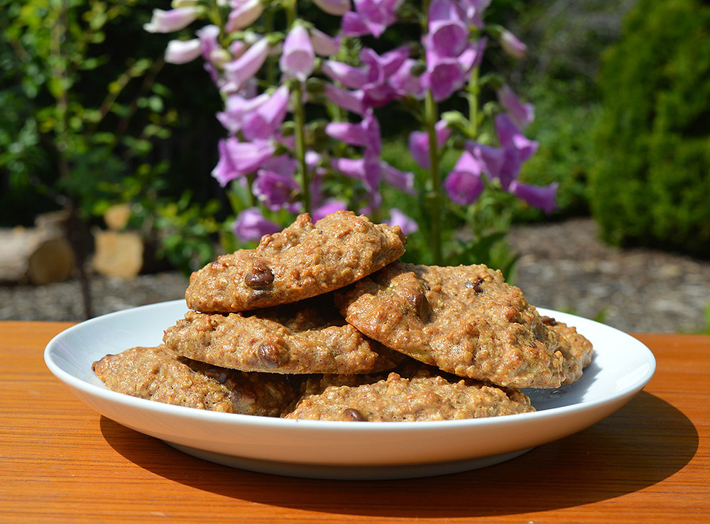 Easy 5 ingredient cookies on table by foxgloves