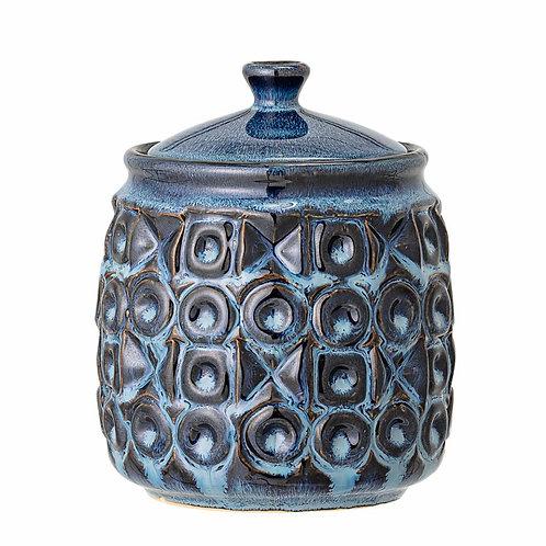 Nena Jar w/Lid, Blue, Stoneware