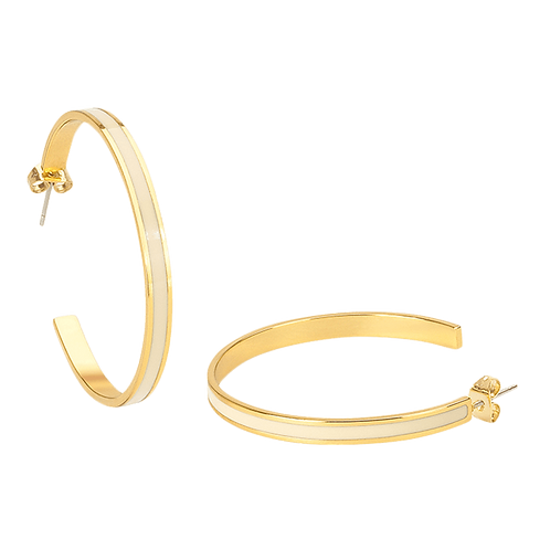 Boucles d'oreille créole en laiton doré émaillé - tige/poussette.