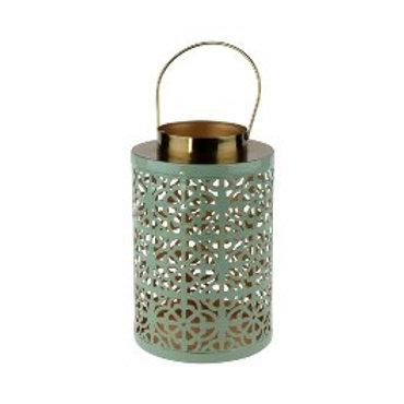 Lanterne percée vert métal
