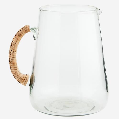 Pichet en verre avec poignée en bambou