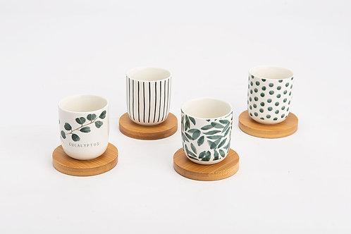 Coffret 4 tasses +ss tasse bambou eucalyptus