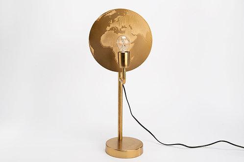 Lampe mappemonde dorée