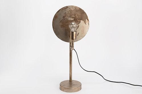 Lampe mappemonde argentée