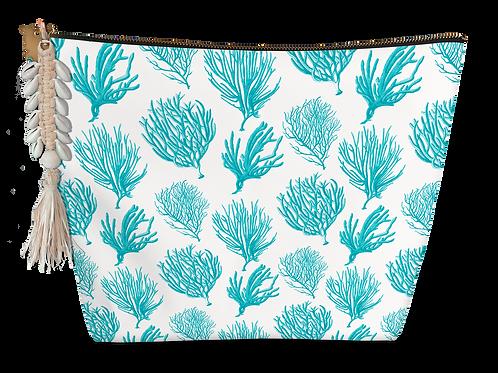 Pochette small éponge coraux turquoises