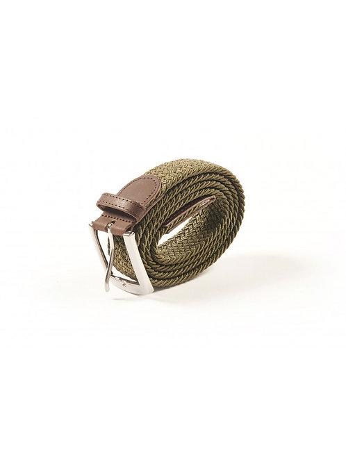 ceinture tressée homme kaki