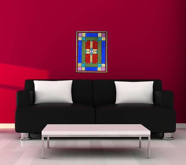 Stained glass church window painting