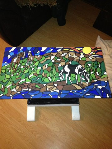 Custom request of horses on wood tabletop