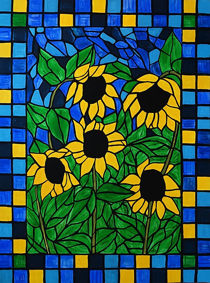 Stained glass sunflower painting