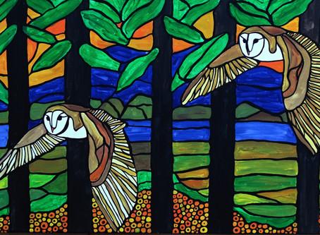 Barn owl mosaic