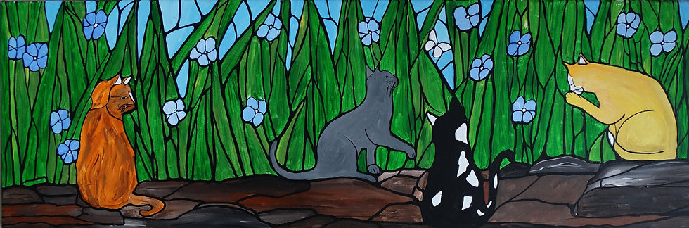 Adorable cats, in the mosaic garden, chasing a little white moth,original art on
