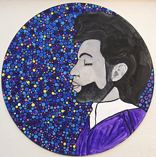 Prince portrait on vinyl record