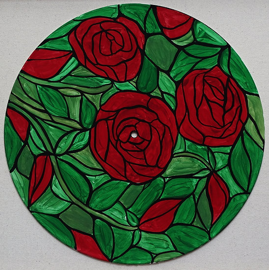 Red Roses painting on vinyl record
