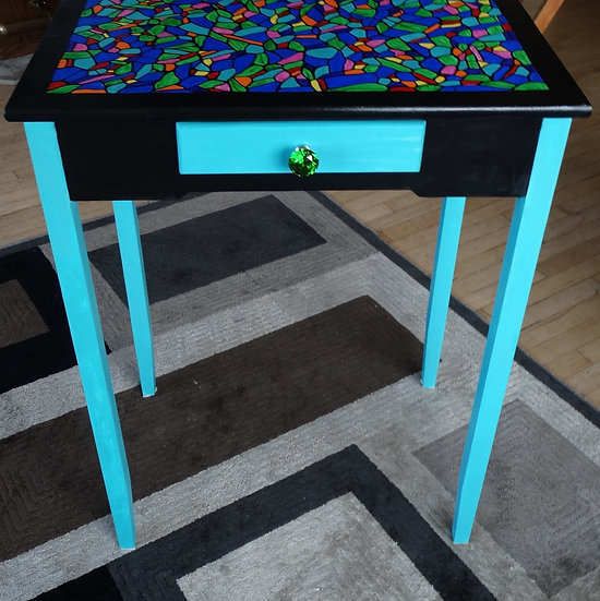 Teal colored accent table